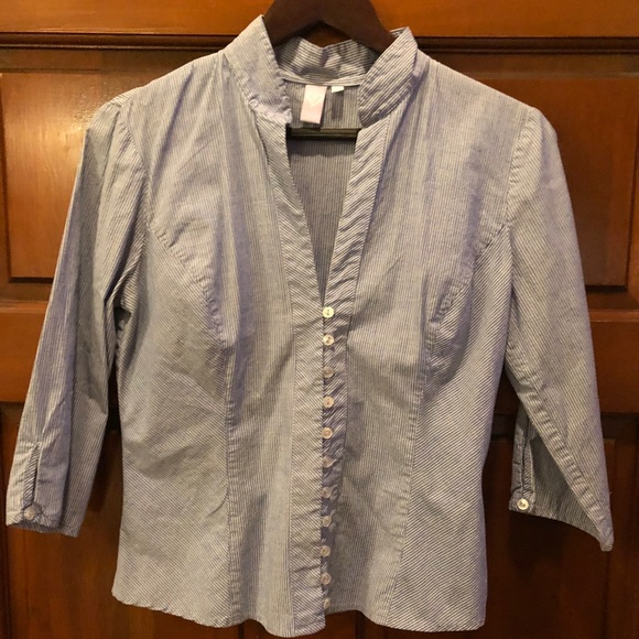 Windsor Tops - Windsor button-down blue and white striped shirt.